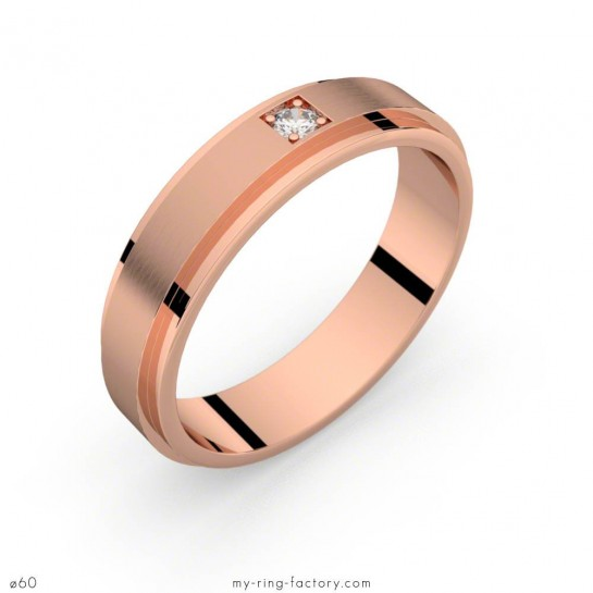 Bague homme Aérodyne or rose diamant 0,05 ct H-SI