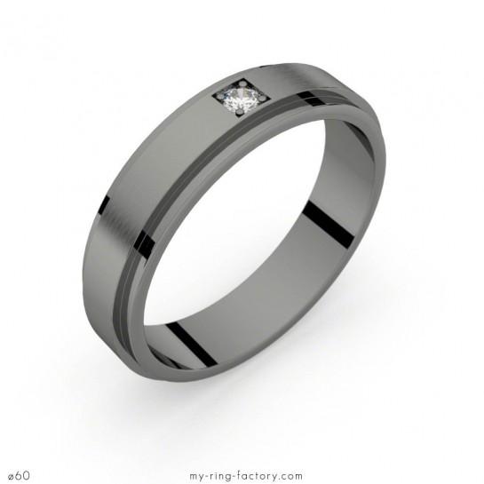 Ideal Bague homme Aérodyne or noir diamant 0,05 ct H-SI my-ring-factory VP84