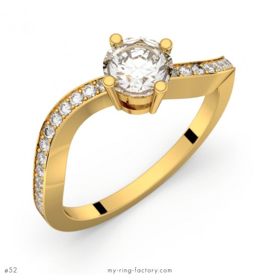 Bague de fiançailles Volute Pavage or jaune diamants 0,65 ct GVS