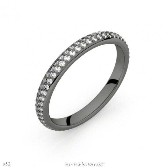 Alliance Bérénice or noir diamants 0,54 ct H-SI