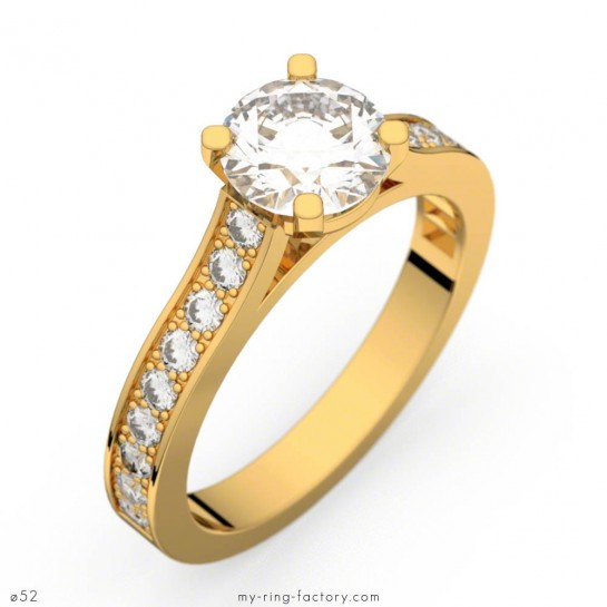 Bague de fiançailles Renaissance or jaune diamants 0,72 ct G/VS1 - GIA