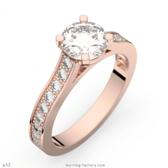 Bague de fiançailles Renaissance or rose diamants 0,72 ct G/VS1 - GIA
