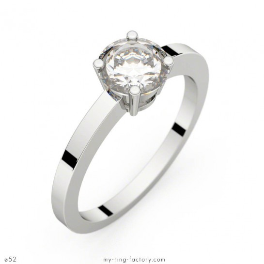 Solitaire Daphné or blanc diamant 0,60 ct G-VS1 GIA