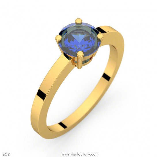 Bague Daphné saphir bleu or jaune 1,37 ct