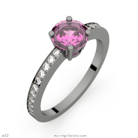 Bague Daphné Pavage saphir rose 0,98 ct or noir diamants GVS
