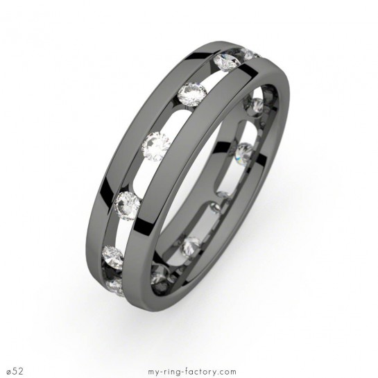 Alliance Ma Galaxie or noir diamants 0,49 ct H-SI