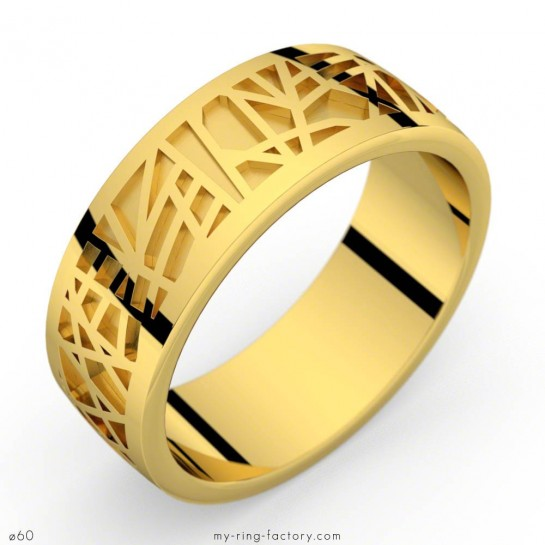 Bague or jaune Abstraction 75