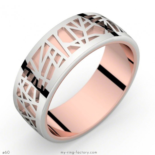 Bague or rose et or blanc ABSTRACTION 75