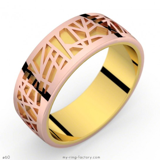 Bague or jaune-or rose Abstraction 75