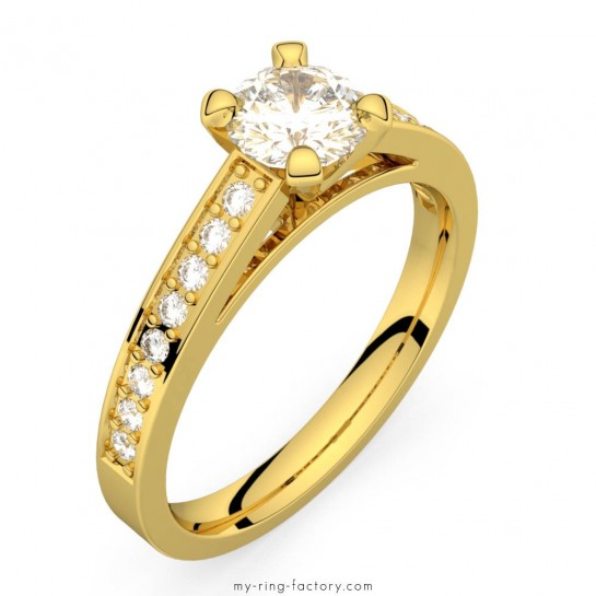 Solitaire diamant or jaune Saint-Germain pavage 0,66 ct HSI