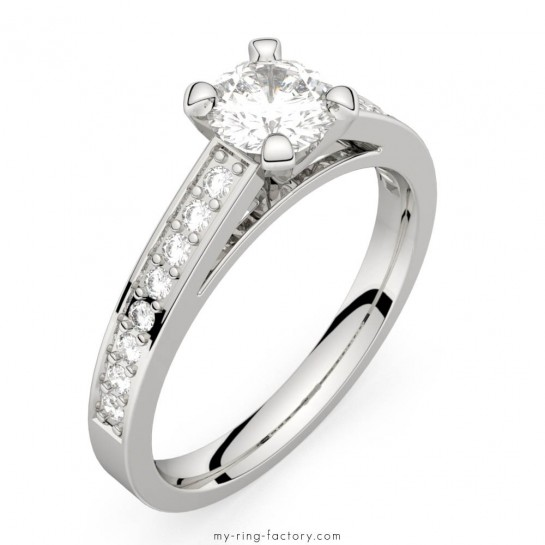 Solitaire diamant platine Saint-Germain pavage 0,66 ct HSI.