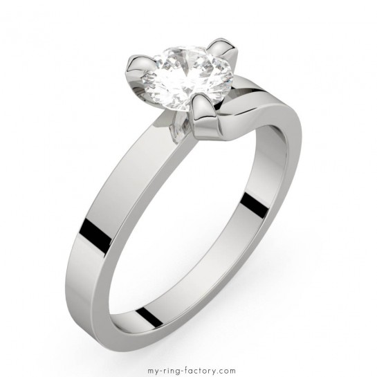 Solitaire diamant or blanc Sarasate 0,50 ct HSI