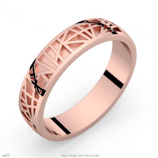 Bague homme en or rose Abstraction 50