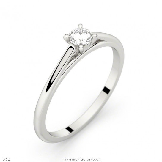 Solitaire Faubourg or blanc diamant 0,15 ct H-SI