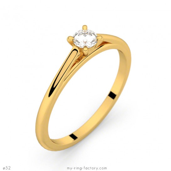 Solitaire or jaune diamant 0,15 ct GVS FAUBOURG