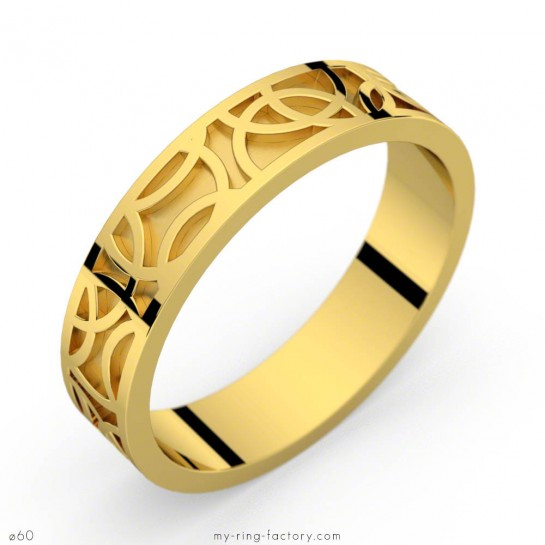 Bague mixte Crop Circles or jaune