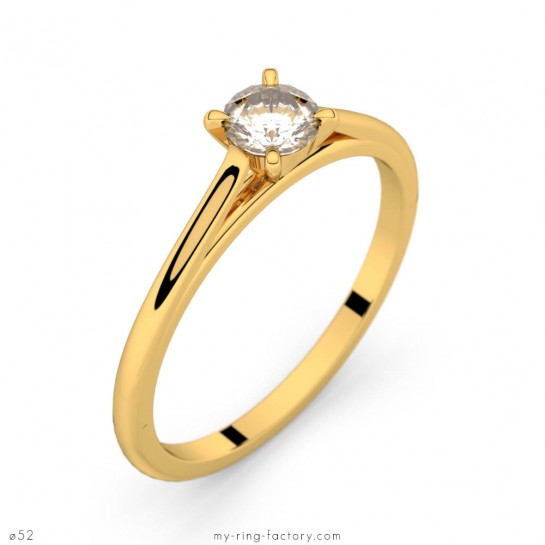 Solitaire Faubourg or jaune diamant 0,25 ct H-SI