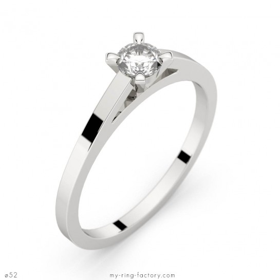 Solitaire Saint-Germain or blanc diamant 0,20 ct H-SI