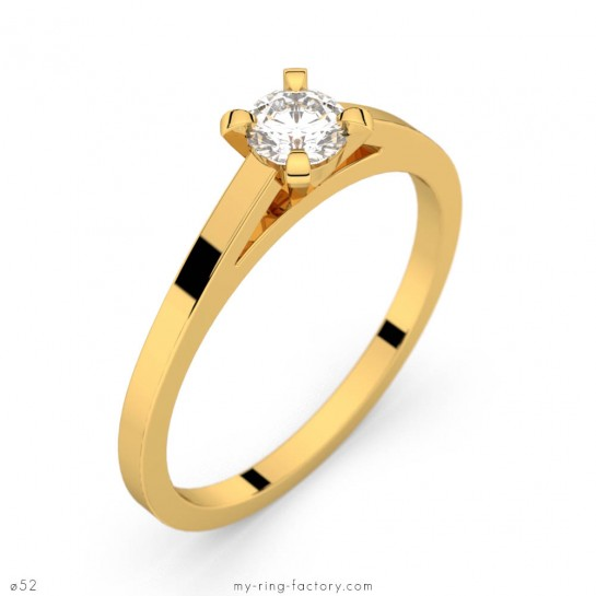 Solitaire Saint-Germain or jaune diamant 0,25 ct GVS