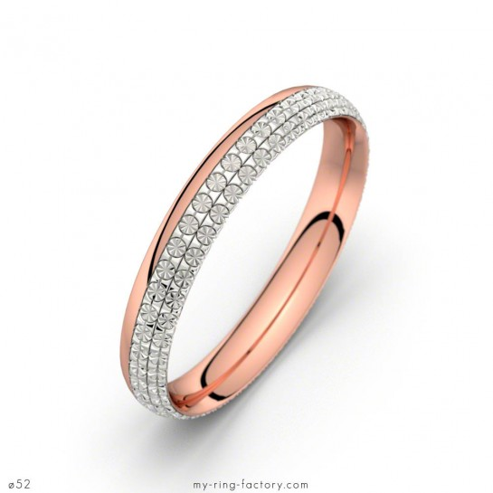 Alliance diamantée 2 ors or rose et or blanc Electra my-ring-factory