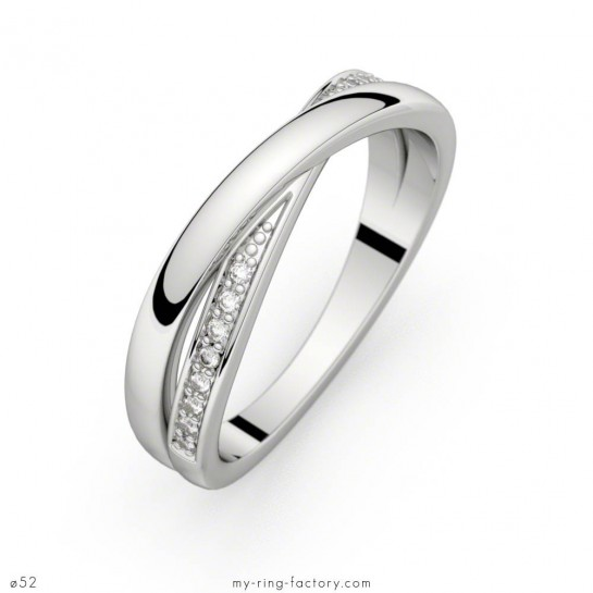 Alliance diamants Sybille or blanc anneaux entrelacés 0,08 ct