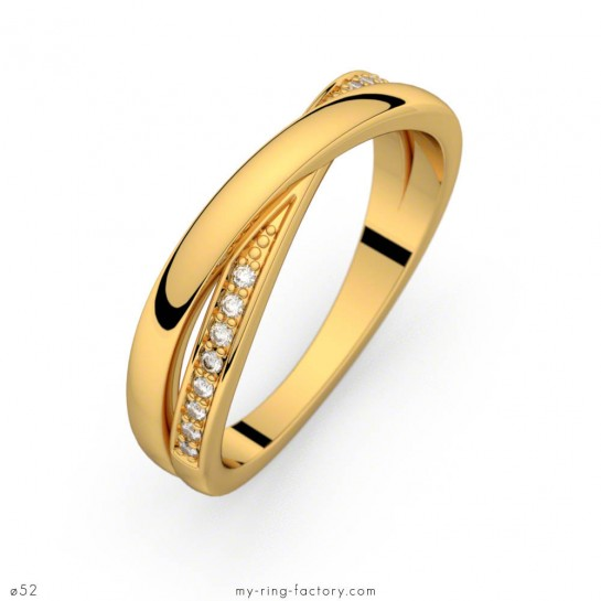 Alliance diamants Sybille or jaune anneaux entrelacés 0,08 ct